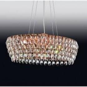 Pendente Moderno de Cristal Transparente Estrutura Oval Dourada 10 Lampadas - Old Artisan