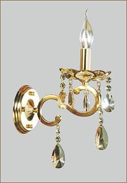 Arandela Chardonne Dourado com Cristais Champagne 1 Braço - Tupiara