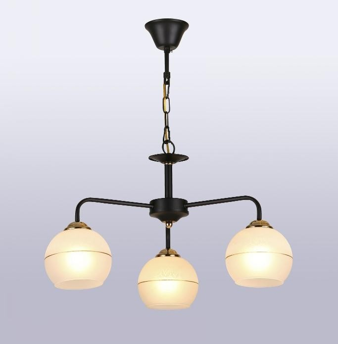 Pendente Metal e Vidro Preto Dourado 3 Lâmpada - Sindora
