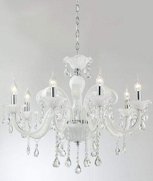 Lustre Branco de Cristal Candelabro Notre Dome Cristais Transparentes 8 Braços - Tupiara