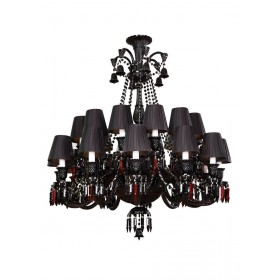 Lustre de Cristal Candelabro Preto 24 Lâmpadas com Cúpula Baccarat