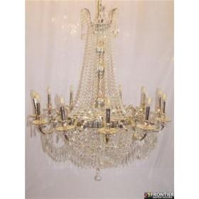 Lustre de Cristal Transparente Modelo Imperial Com Estrutura Cromo 10 Lâmpadas - Frontier