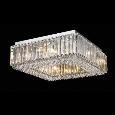 Plafon de Cristal Translúcido de Aço Cromado 8 Lâmpadas +Luz Iluminição