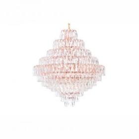 Lustre Moderno de Cristal Transparente Acabamento em Metal Rose God 10 Lâmpadas - JLR