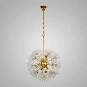 Pendente Fibbra de Aço Dourado e Cristais 9 Lâmpadas +Luz Iluminação