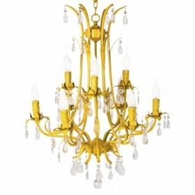 Lustre de Cristal de 9 Braços Livorno com Acabamento Aço Amarelo - Sigma Lux
