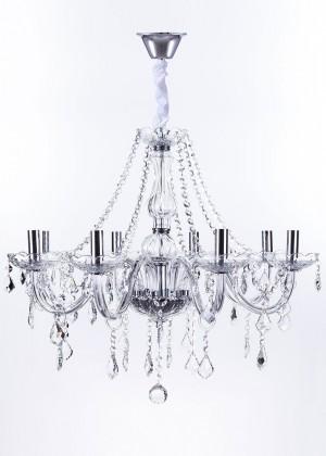 Lustre de Cristal Maria Thereza Transparente 8 Lâmpadas