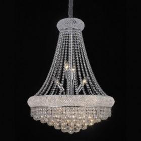 Lustre de Aço Cromado de Vidro e Cristal Translúcido 17 Lâmpadas +Luz Iluminação