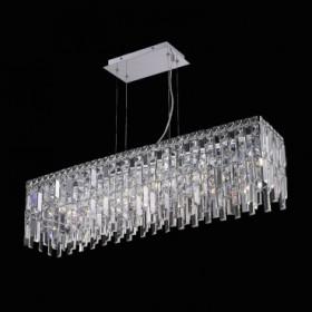 Pendente de Aço Cromado no Cristal 8 Lâmpadas +Luz Iluminação