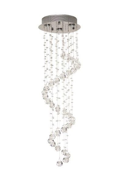 Plafon de Cristal Com Base em Aço Inox 3 Lampadas FI