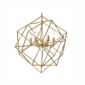 Pendente Moderno Aramado Quadrado Trançado Com Estrutura Dourada 14 Lâmpadas - JLR