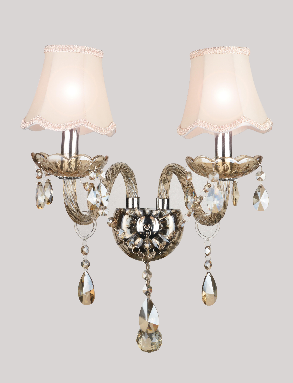 Arandela de Cristal Maria Thereza Champagne 2 Lâmpadas Com Braço Trançado e Cúpula