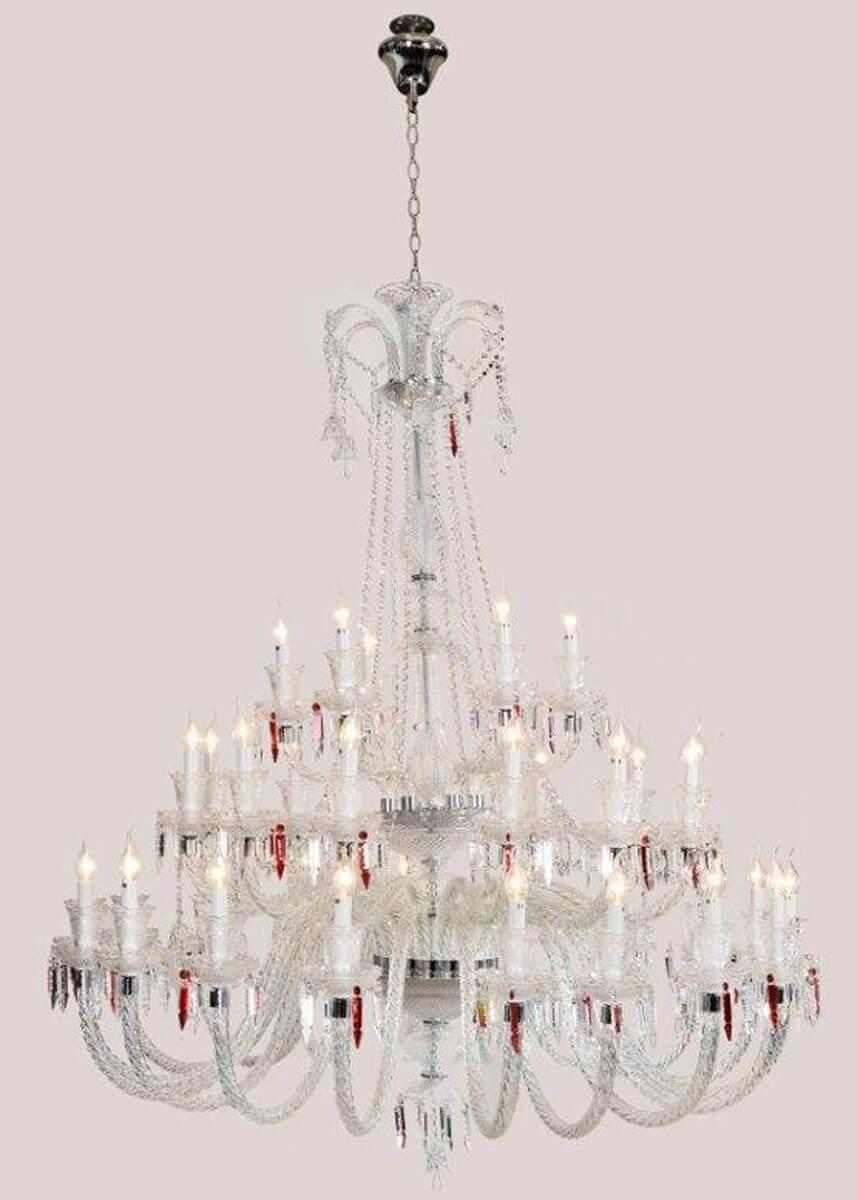 Lustre de Cristal Candelabro 36 Lâmpadas Baccarat Transparente