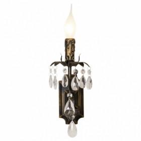 Arandela de Cristal 1 Lampada com Estrutura em Metal Preto com Dourado Livorno - Sigma Lux