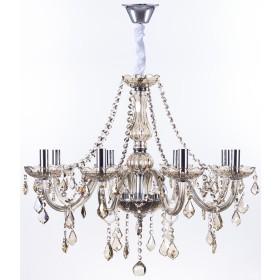 Lustre de cristal Maria Thereza champagne 8 lâmpadas