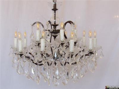 Lustre de Cristal Com Metais Cobre 15 Lâmpadas - Frontier