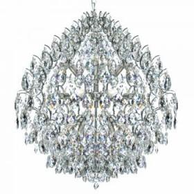 Lustre Moderno de Cristal Transparente e Estrutura em Metal Cromado 10 Lâmpadas - JLR