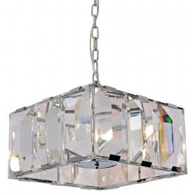Pendente Quadrado Cristal Cromado 6 Lâmpadas - Sindora