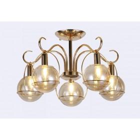 Pendente Metal e Vidro Dourado 5 Lâmpadas -Sindora