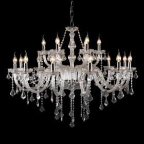 Lustre Candelabro de Cristal Maria Thereza Transparente 18 Lâmpadas -JLR