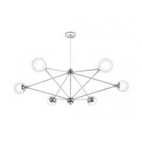 Pendente Moderno Cúpula de Vidro Branco Leitoso Com Estrutura Cromo 6 Lâmpadas - Old Artisan