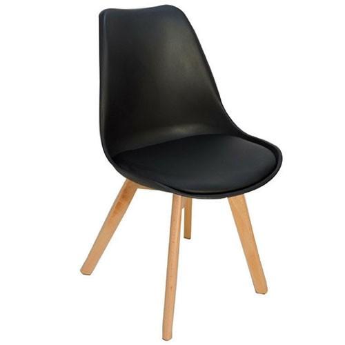 Cadeiras 4 Pés Em Madeira Eames DKR Preta - Desingchair
