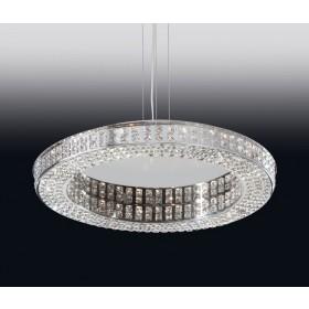 Pendente Aliança Moderno de Cristal Transparente e Estrutura Redonda 16 Lâmpadas LED Embutido - Old Artisan