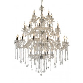 Lustre de Cristal Candelabro Maria Thereza Transparente 36 Lâmpadas