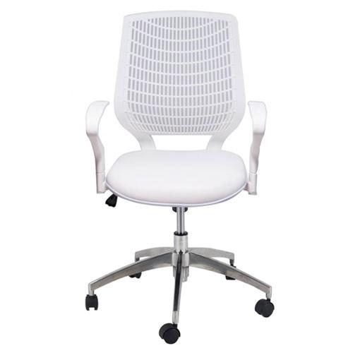 Cadeira Executiva Base Giratória Alumínio Delli Branca - Desingchair