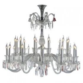 Lustre Borgheze Metal Cromado Cristal Transparente 24 Braços - Pier