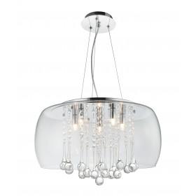 Pendente Plafon Com Cúpula de Vidro Transparente e Cristal Transparente BL ll