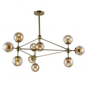 Pendente Moderno Cúpula de Vidro e Estrutura Dourada 10 Lâmpadas VO
