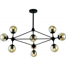 Pendente Moderno Cúpula de Vidro e Estrutura Preta 10 Lampadas VO