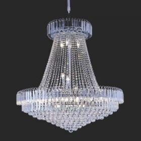 Lustre Imperial de Cristal Transparente e Estrutura em Metal Cromo 20 Lâmpadas - JLR