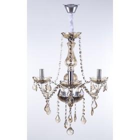 Lustre de cristal Maria Thereza champagne 3 lâmpadas