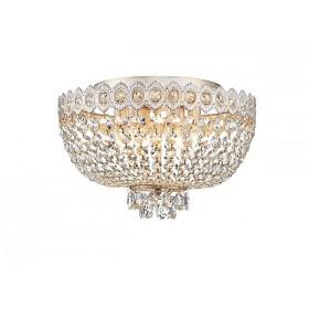 Plafon Queen Metal Branco com Ouro Jateado com Cristais Transparente 6 Lâmpadas - Tupiara