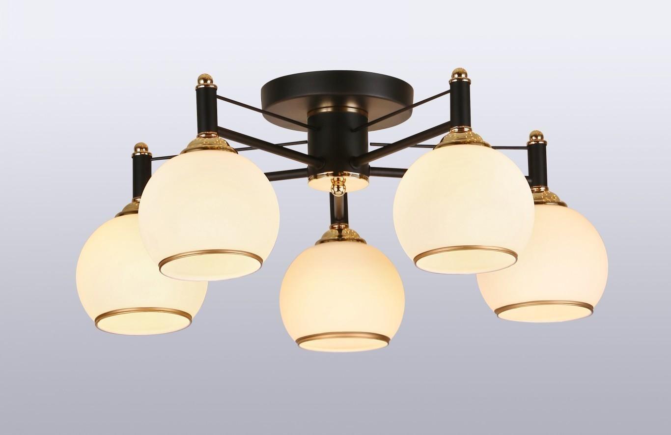 Pendente Metal Vidro Preto Dourado 5 Lâmpadas - Sindora