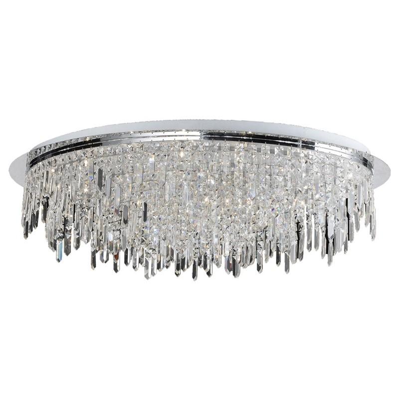 Plafon Marchand Cristal Transparente Metal Cromado 31 Lâmpadas - Pier