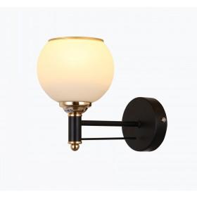 Arandela Metal e Vidro Preto Dourado 1 Lâmpada - Sindora
