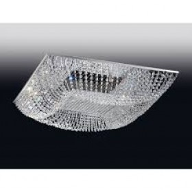 Plafon de Cristal Transparente e estrutura Quadrada de Aço Cromado 8Lâmpadas - Old Artisan