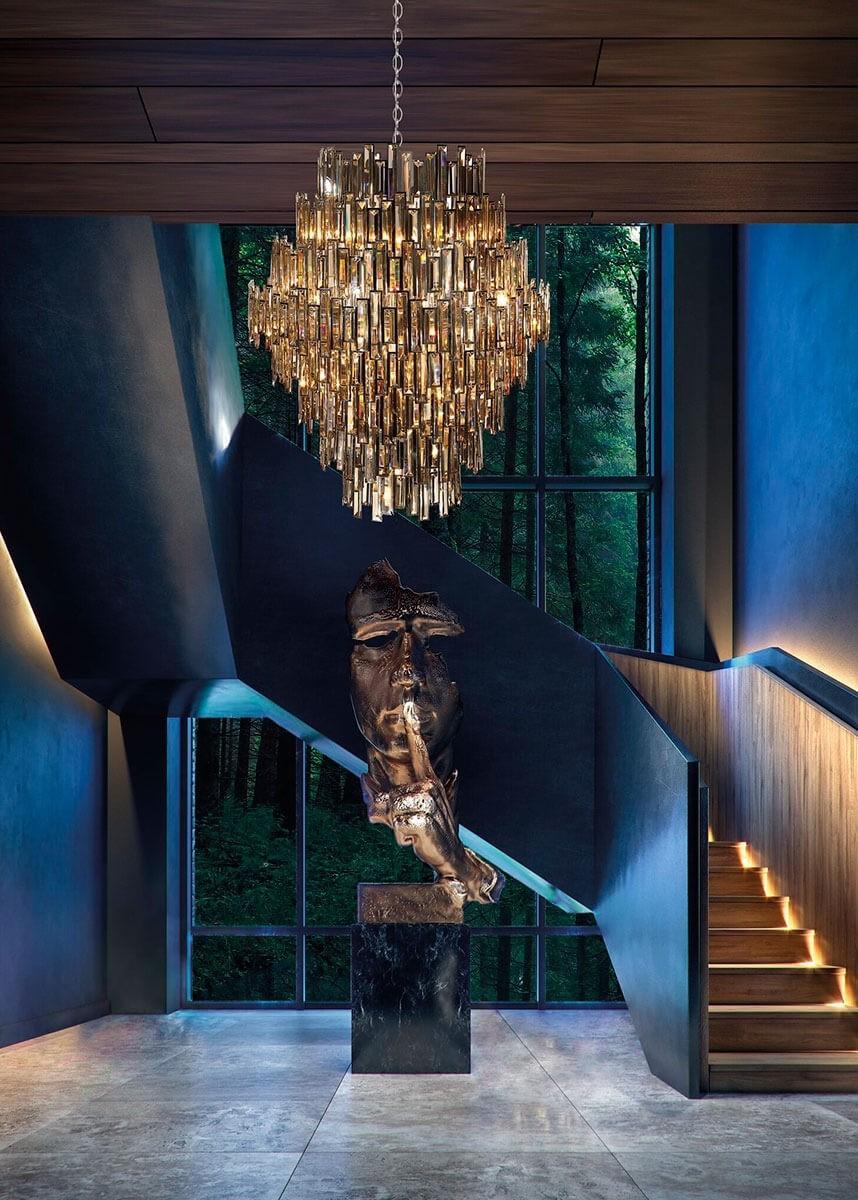 Lustre de cristal metal cromado 28 lâmpadas Milano - Mantra