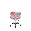 Cadeira Decorativa Bella Base Giratória Cromada Floral Fundo Azul
