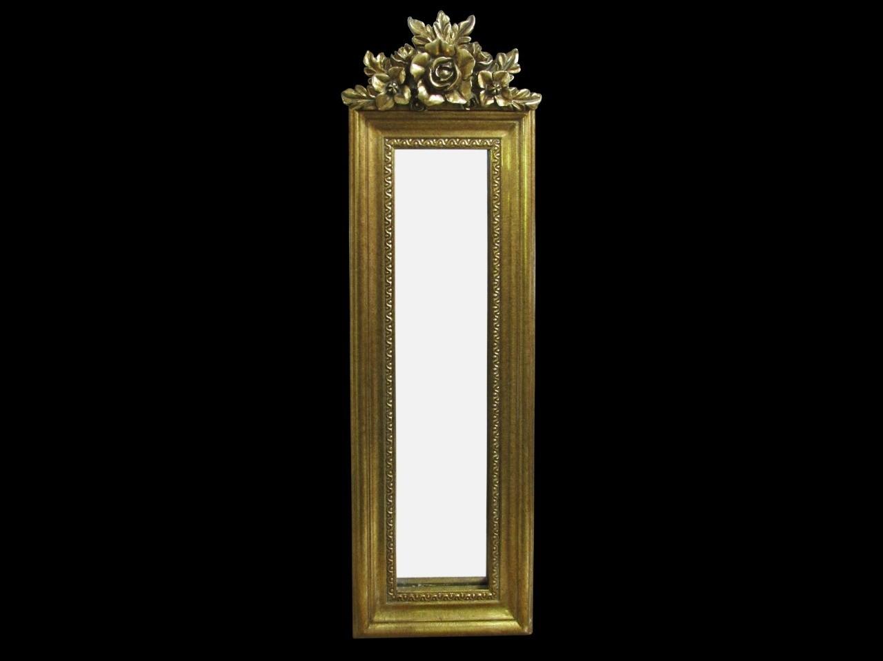 Espelho Retangular Moldura Dourada com Detalhe de Flor - Frontier
