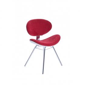 Cadeira Decorativa Bella Base Fixa Vermelha com Fundo Branco