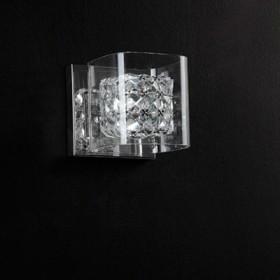 Arandela com Cupula de Vidro Quadrado Ravel com Base Cromada 1 Lampada - Bella