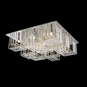 Plafon de Vidro Translúcido de Aço Cromado 9 Lâmpadas +Luz Iluminição