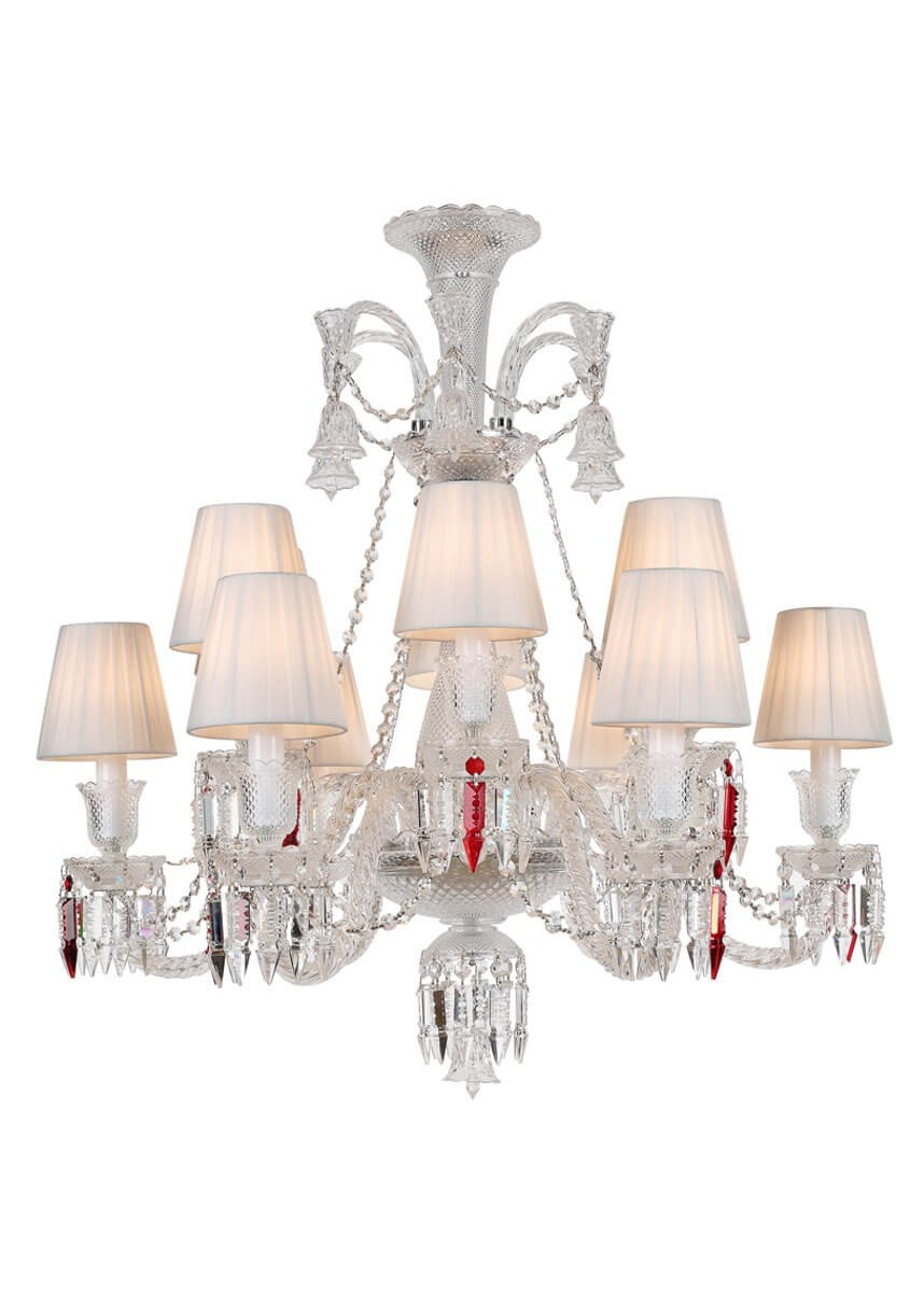 Lustre de Candelabro de Cristal Baccarat Transparente 12 lâmpadas com Cúpula Branca