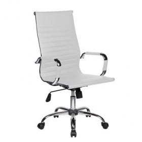 Cadeira Presidente Designchair Charles Eames Cromada Com Braço Branca