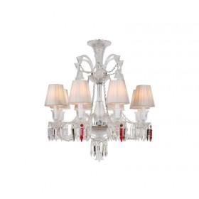 Lustre de Candelabro de Cristal Baccarat Transparente 8 lâmpadas com Cúpula Branca