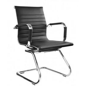 Cadeira Chales Eames Diretor Designchair Fixa Sky Cromada Com Braço Preta